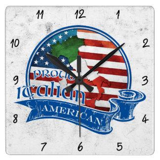 Proud Italian American Square Clock