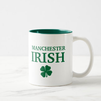 Proud MANCHESTER IRISH! St Patrick's Day Two-Tone Coffee Mug
