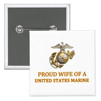 Proud Marine Wife 15 Cm Square Badge