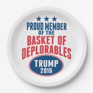 Proud Member of the Basket of Deplorables - Trump 9 Inch Paper Plate