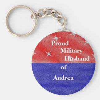 Proud military husband of ______________ basic round button key ring