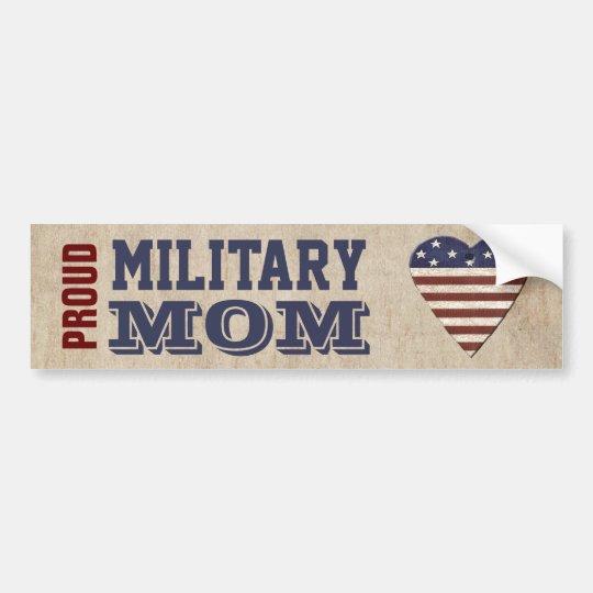 Proud Military Mum With Patriotic Heart Bumper Sticker