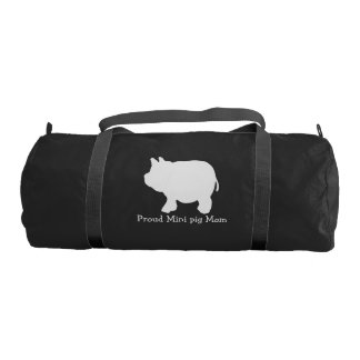Proud Mini pig Mum with White Mini Pig Gym Duffel Bag