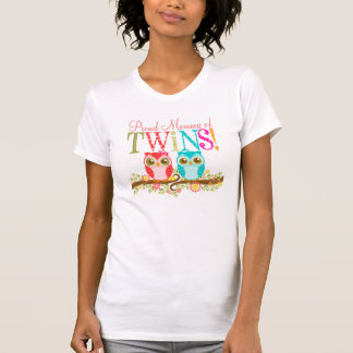 Proud Mommy of Twins Cute Baby Owls Shirt