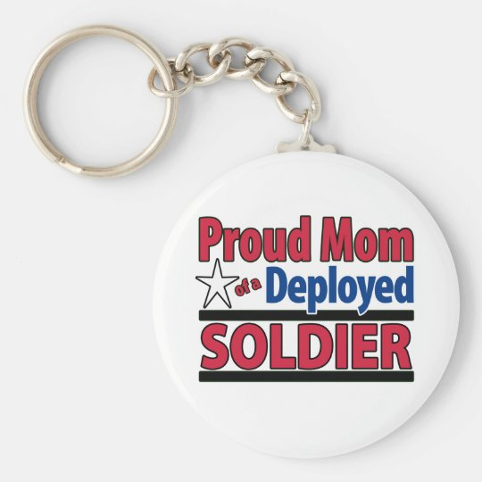 Proud Mum of a Deployed Soldier Basic Round Button Key Ring