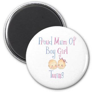 Proud Mum of Boy Girl Twins 6 Cm Round Magnet