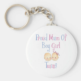 Proud Mum of Boy Girl Twins Basic Round Button Key Ring