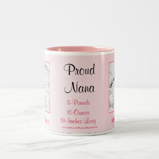 Proud Nana Pink New Baby Girl Two-Tone Coffee Mug