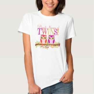 Proud Nanna of Twins! Cute Baby Owls Shirt