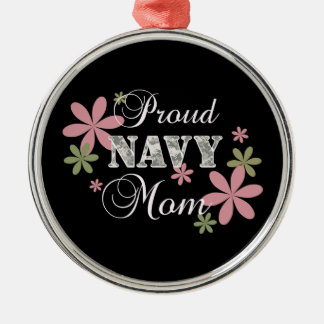 Proud Navy Mom [fl c] Silver-Colored Round Decoration