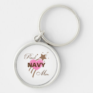 Proud Navy Mom Heart Silver-Colored Round Key Ring
