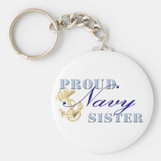Proud Navy Sister Basic Round Button Key Ring