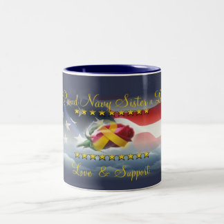 Proud Navy Sister N Law Two-Tone Mug