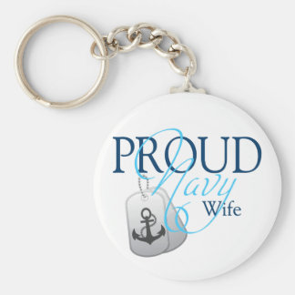 proud navy wife basic round button key ring