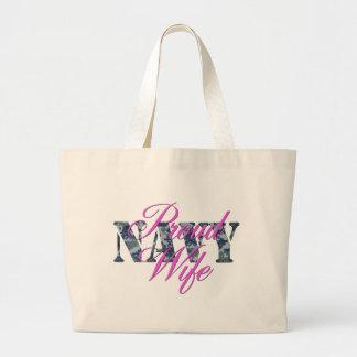 proud navy wife NWU Large Tote Bag