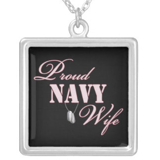 Proud Navy Wife Square Pendant Necklace