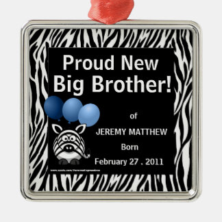 Proud New Big Brother Blue Zebra Christmas Ornament