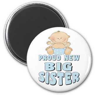 Proud New Big Sister Boy 6 Cm Round Magnet