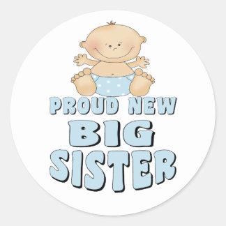 Proud New Big Sister Boy Round Sticker