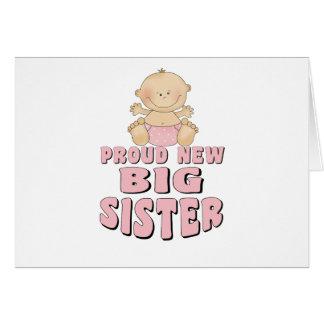 Proud New Big Sister Girl Greeting Card