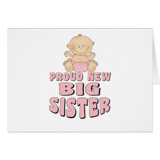 Proud New Big Sister Girl Greeting Cards