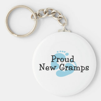 Proud New Gramps Baby Boy Footprints Basic Round Button Key Ring