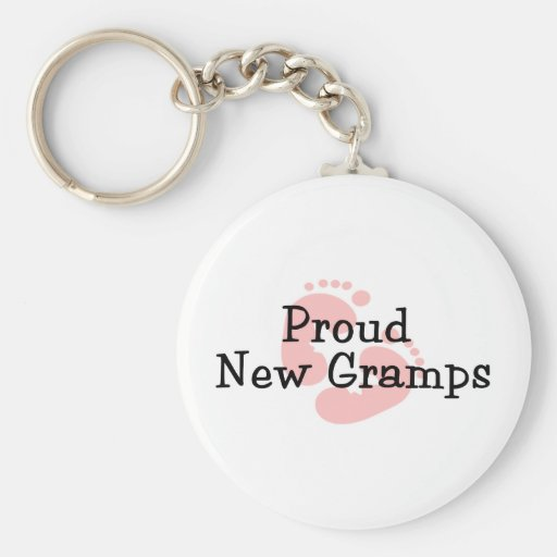 Proud New Gramps Baby Girl Footprints Key Chains