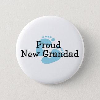 Proud New Grandad Baby Boy Footprints 6 Cm Round Badge