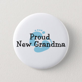 Proud New Grandma Baby Boy Footprints 6 Cm Round Badge