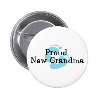 Proud New Grandma Baby Boy Footprints 6 Cm Round Badge