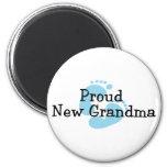 Proud New Grandma Baby Boy Footprints Fridge Magnet
