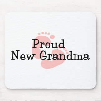 Proud New Grandma Baby Girl Footprints Mouse Pad