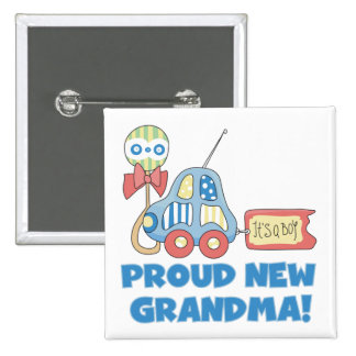 Proud New Grandma-It's a Boy Tshirts and Gifts 15 Cm Square Badge