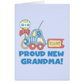 Proud New Grandma-It's a Boy Tshirts and Gifts Greeting Card