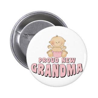 PROUD NEW Grandma T-Shirt 6 Cm Round Badge