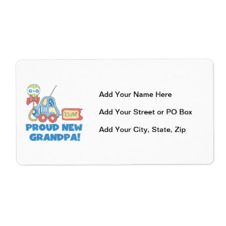 Proud New Grandpa Car It's a Boy Gifts Shipping Label