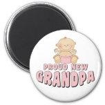 PROUD NEW Grandpa Girl 6 Cm Round Magnet