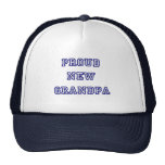 Proud New Grandpa-University Text Tshirts Mesh Hats