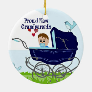 Proud New Grandparents - Blue Double-Sided Ceramic Round Christmas Ornament