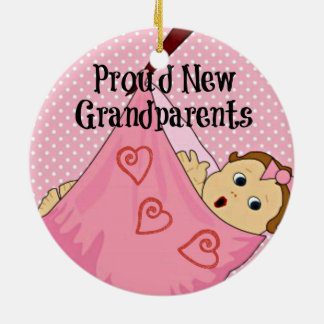 Proud New Grandparents - Pink Round Ceramic Decoration