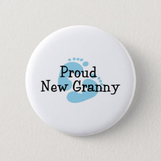 Proud New Granny Baby Girl Footprints 6 Cm Round Badge