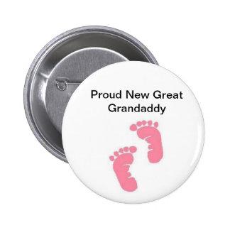 Proud New Great Grandaddy 6 Cm Round Badge