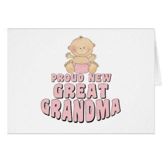 PROUD NEW Great Grandma T-Shirt Greeting Card