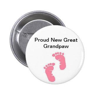 Proud New Great Grandpaw 6 Cm Round Badge