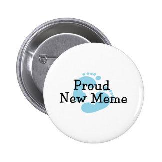 Proud New Meme Baby Boy Footprints 6 Cm Round Badge