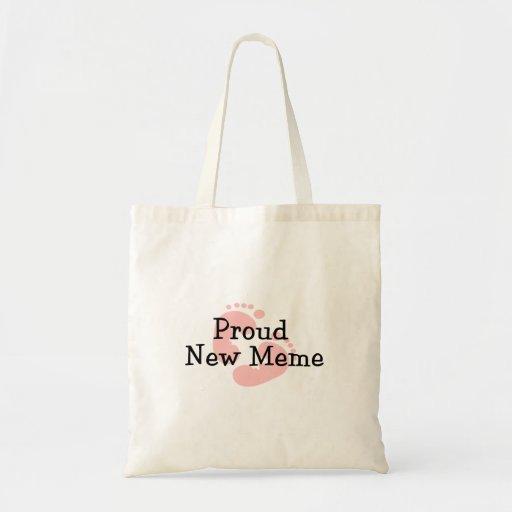 Proud New Meme Baby Girl Footprints Canvas Bags