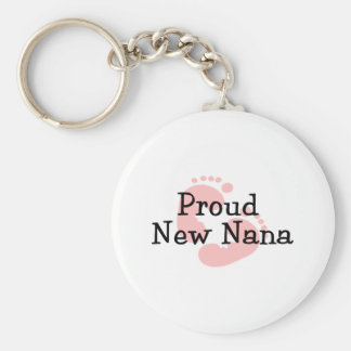 Proud New Nana Baby Girl Footprints Basic Round Button Key Ring