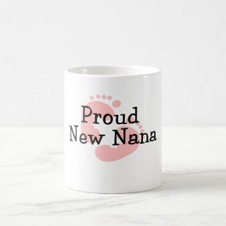 Proud New Nana Baby Girl Footprints Basic White Mug