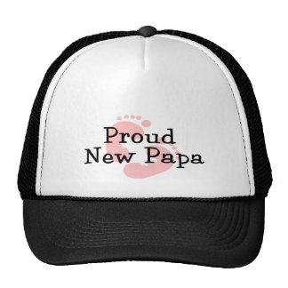 Proud New Papa Baby Girl Footprints Cap