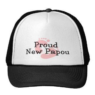 Proud New Papou Baby Girl Footprints Trucker Hats